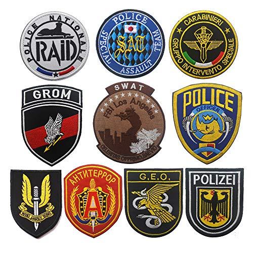 OYSTERBOY - Parche táctico con gancho y bucle (10 unidades), diseño de la policía de Francia, Rusia, Alemania, Polonia, Italia, España, Reino Unido, Japón y Estados Unidos