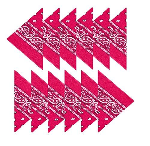 Boolavard 100% Baumwolle, 1er 6er, oder 12er Pack Bandanas mit original Paisley Muster | Farbe nach Wahl Headwear/Haar Schal Ansatz Handgelenk Verpackungs Band Kopf Bindung (12er Dunkelrosa)