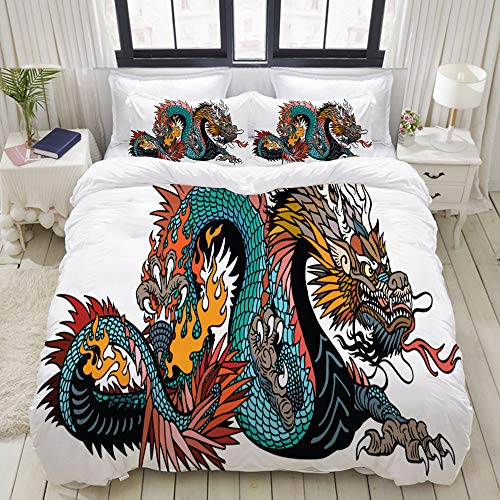 ALLMILL Bedding Bedrucktes Bettbezug-Sets,Azurblauer chinesischer Drache des grünen Asiaten,Mikrofaser Kinder Student Schlafsaal Bettwäsche Set (1 Bettbezug + 2 Kissenbezüge)