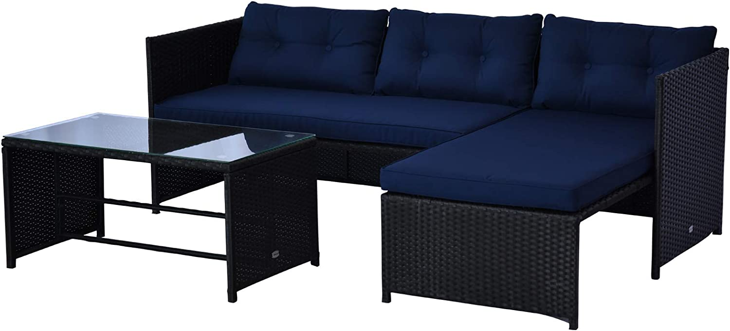 Outsunny 3-Piece Rattan Patio Furniture Sofa Set Conversation Set, Sectional Lounge Chaise Cushioned for Garden Poolside or Porch Lounging, Blue