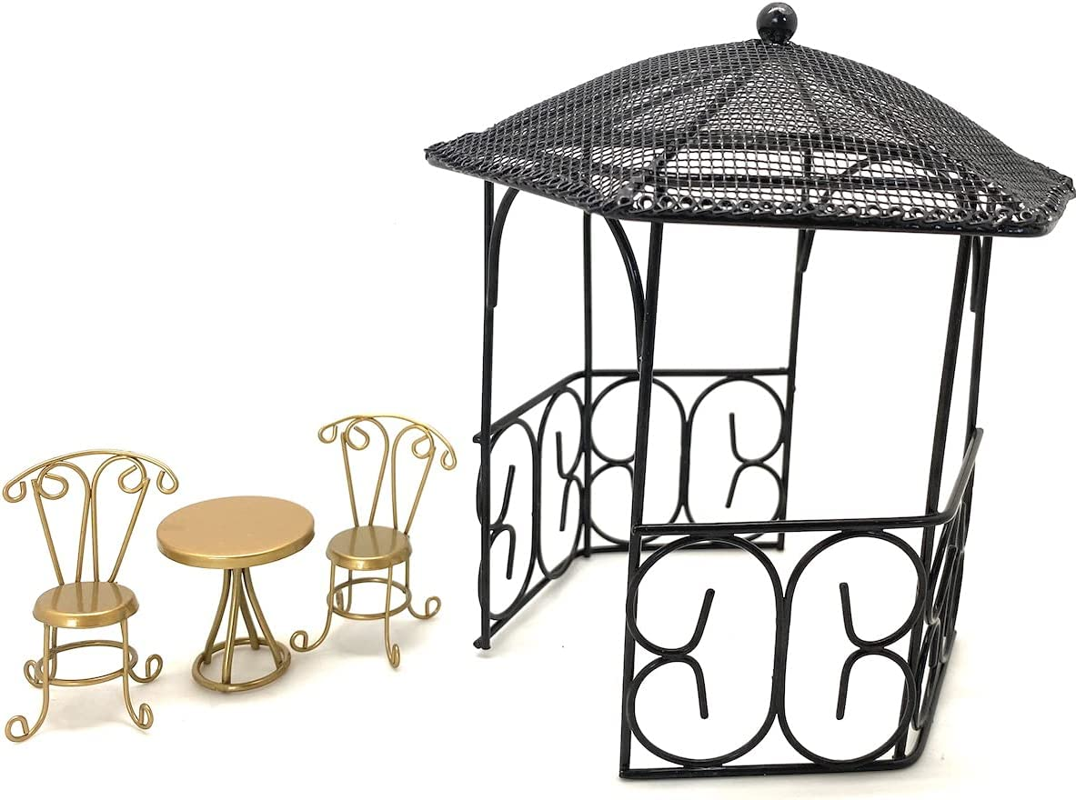 Miniature Gold Colored Bistro Table and Chairs Set Black online shop Gaz Challenge the lowest price of Japan ☆