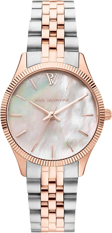 Paul Valentine Iconia Rose Gold Silver - Reloj de pulsera para mujer con esfera metálica en oro rosa, cristal resistente a los arañazos, correa de acero inoxidable, reloj para mujer