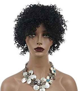 Wiginway Short Jumbo Afro African American Wigs for Black Women Kinky Curly Black Full Wigs 8 Inch