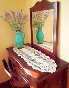 Hetao 12x35 100% Cotton Handmade Crochet lace Table Runners Oblong Tablecloth Doilies Doily,Beige