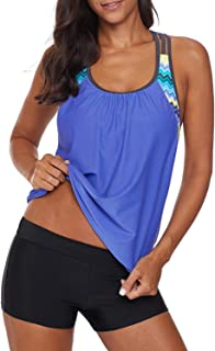Women 2 Pieces Layered Style Printed Tankini with Boy Short Racerback Swimsuits