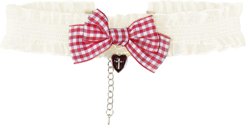 YiZYiF Womens Girls Gothic Ruffle Lace Collar Fancy Dress Bowknot Choker Necklace