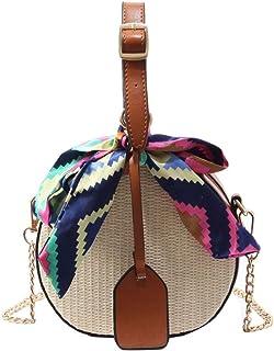 Wultia - Bags for Women Men 2019Women's Fashion Color Ribbon Straw Saddle Bag Shoulde Messenger Bag Bolsa Feminina Brown