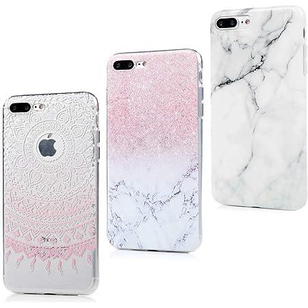 MAXFE.CO 3X Coque pour iPhone 8 Plus/iPhone 7 Plus Silicone Transparent Protection Original Motif Case Cover Coque pour iPhone 8 Plus/iPhone 7 Plus ...