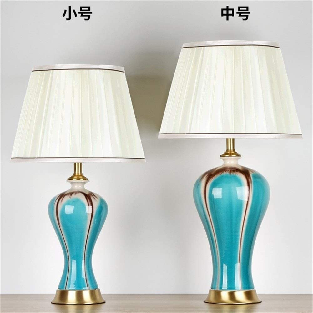 New Family Style Table Lamp Night Light Ceramic Table Lamp Full Copper Bedroom Bedside Lamp Living Room Study Decoration (Size : Green) Blue