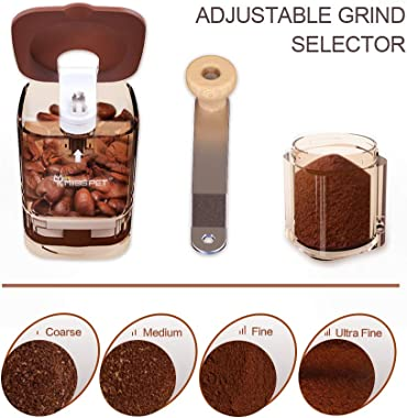 Manual Coffee Grinder, Portable Adjustable Ceramic Conical Hand Burr Mill, 2019 Upgraded, 100% BPA Free Compact Size Perfect