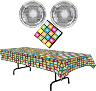 Disco Ball 70's Party Supplies Themed Paper Plates, Napkins and Table Cover Serves 16 Guests