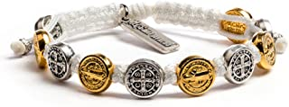 My Saint My Hero Benedictine Blessing Bracelet - Gold- and Silver-Tone Medals with Hand-Woven White Cord