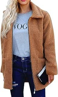Sanyyanlsy Ladies Warm Artificial Wool Coat Outerwear Women's Zipper Lapel Long Jacket Top Winter Outercoat with Pocket