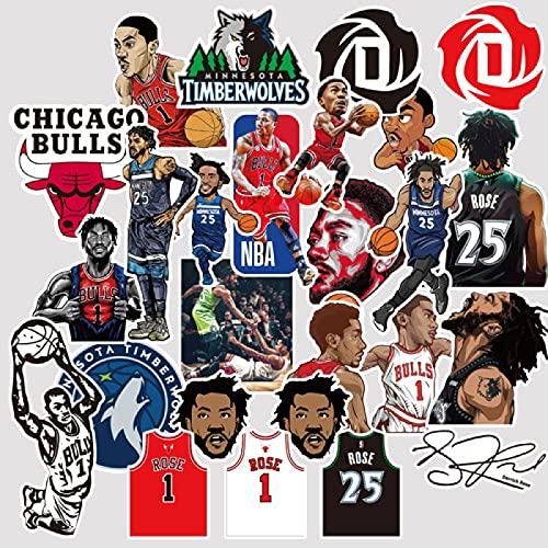 YMSD Derrick Martell Rose Chicago Bulls Nba Star - Adhesivo de baloncesto para ordenador portátil, personalizable, para coche, monopatín, taza de agua, equipaje, PVC, impermeable, 50 unidades