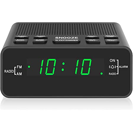 Digital Alarm Clock, Clock Radio with LED Display,AM/FM ,Sleep Timer, Dimmer, Snooze Battery Backup for Bedrooms,Bedside,Shelf (Green) …