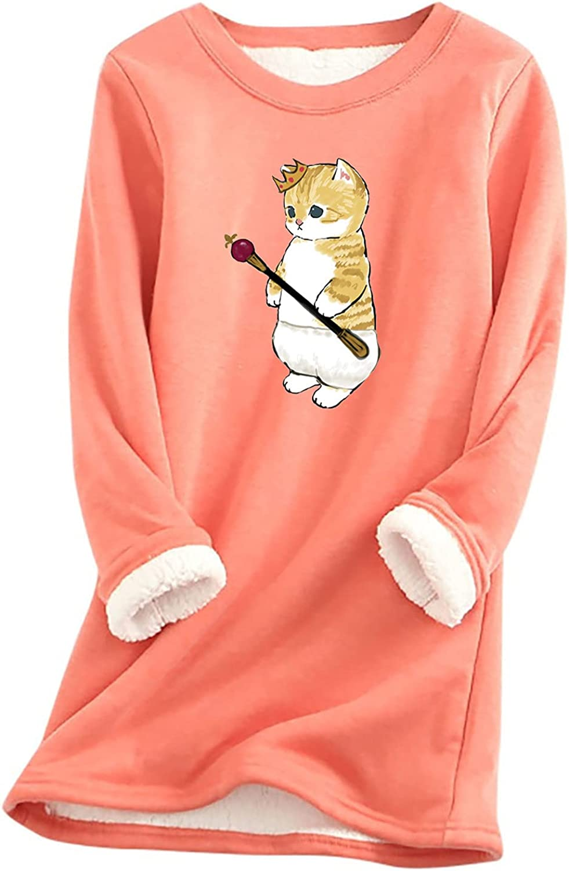 Loungewear for Women Cute Print Tee Long Sleeve Thermal Long Tops Casual Comfy Fleece Shirt Basic Fall Winter Blouse