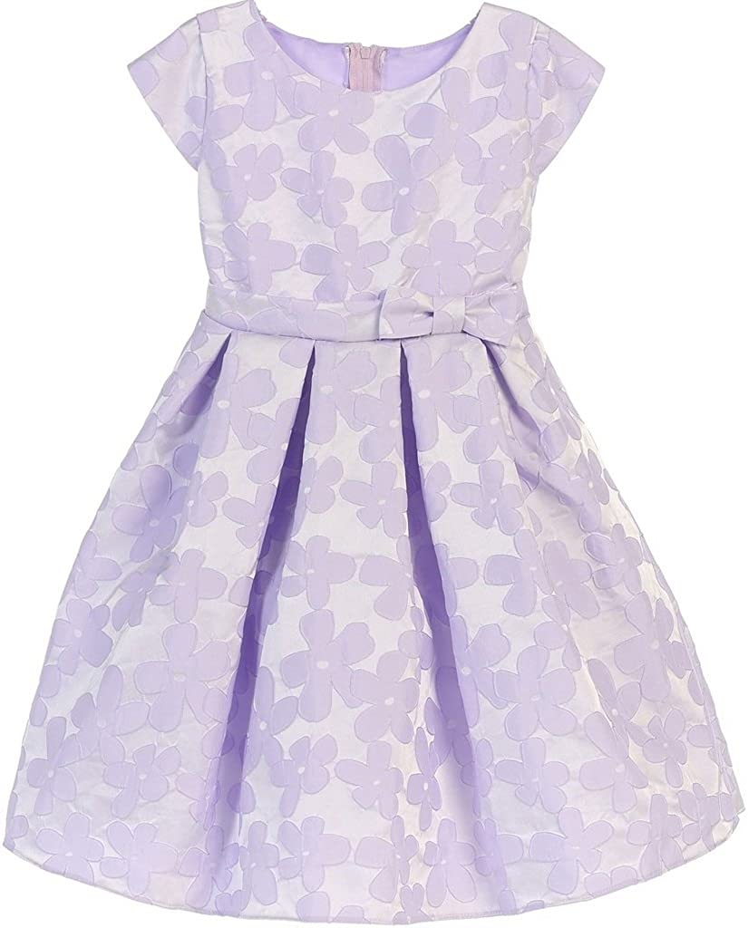BluNight Collection Cap Sleeve Jacquard Design Bow Little Girl Special Occasion Dresses