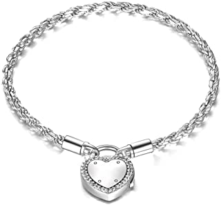 ONEFINITY Lock of Love Heart Clasp Charms Bracelet 925 Sterling Silver Snake Chain Bracelet Jewelry for Women Girls