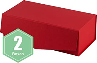 WRAPAHOLIC 2Pcs Red Gift Box Rectangular 13x6.5x4.3 Inches, Collapsible Gift Box with Magnetic Closure for Party, Wedding, Gift Wrap, Bridesmaid Proposal, Storage