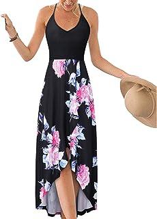 c573ebf163eb KILIG Women's V Neck Sleeveless Summer Asymmetrical Patchwork Floral Maxi  Dresses