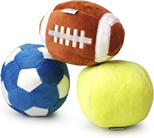 Interactive Dog Toys Suitable for Small and Medium Dogs, Soccer Ball, Football and Tennis Balls for Dogs, Stuffed with Fluffy Squeak Dog Toys, Puppy Outdoor Toys, Dog Plush Toys, Dog Birthday Gifts
