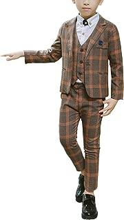 Boys Plaid Suits Formal Dress Blazer Vest Pants 3 Pieces Gray & Navy 2 Colors