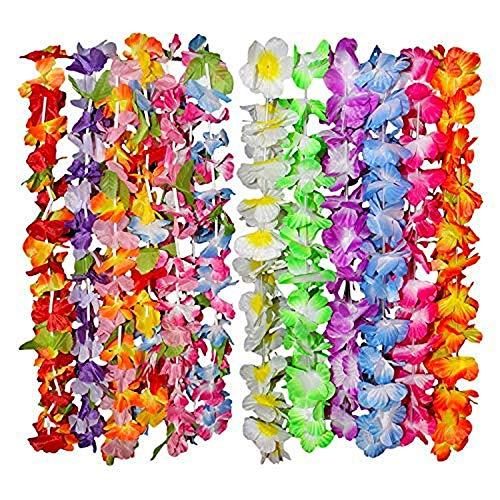 Kurtzy Hawaii Deko Blumen Girlanden im 36er Set - 50cm Tropische Hawaiikette Gekräuselter Leis Blumenkranz Luau Party Set, 6 Bunte Verschiedene Blumenketten Designs Ideal für Kostüm, Strand Motto