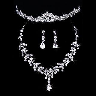Gioielli nozze Musuntas set tiara diamante artificiale cristallo + collana + orecchini per festa di nozze