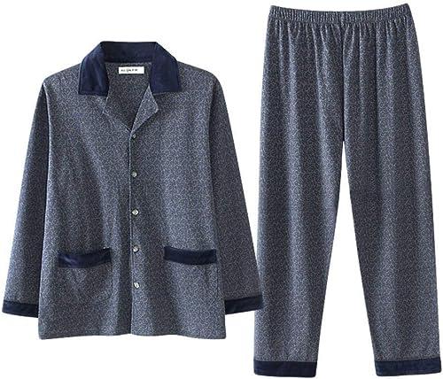 Anaisy Ensemble De Manches Pyjama Hommes, Longues pour en Coton à Manches Longues Jeun