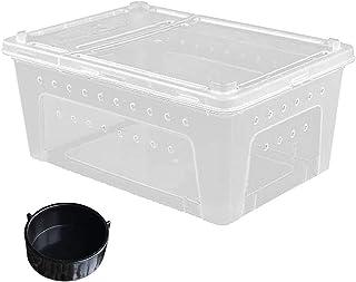 Reptile Small Snake Feeding Box Lizard Tarantula Habitat Cage Hatching Container Transparent Portable Plastic Mini Pet Hou...