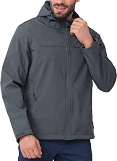 CAMEL CROWN Softshell Jacket Men Hooded Fleece Lined Outdoor Jackets Windproof Water Resistant for Hiking Casual Work