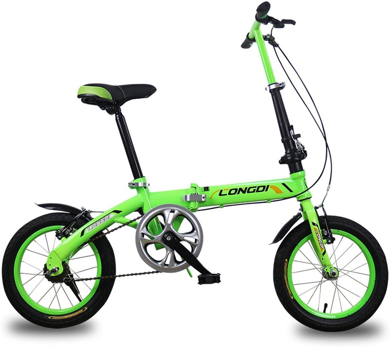 exclusivo YYHSND Bicicletas Bicicletas Bicicletas para Niños Bicicletas para Niños de 3 a 5 años Bicicleta Plegable de Acero de Alto Cochebono de 14 Pulgadas, verde Negro Azul Bicicleta (Color   verde)  envío gratuito a nivel mundial