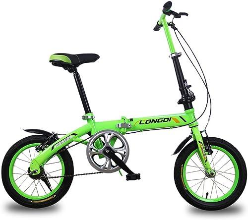 40% de descuento Fenfen Fenfen Fenfen Bicicletas para Niños Bicicleta para Niños de 3-5 años Bicicleta plegable de acero con alto contenido de carbono de 14 pulgadas, verde negro azul (Color   verde)  minoristas en línea