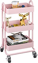 MIOCASA 3-Tier Metal Utility Rolling Cart, Heavy Duty Multifunction Cart with Lockable Casters, Easy to Assemble, Suitable...