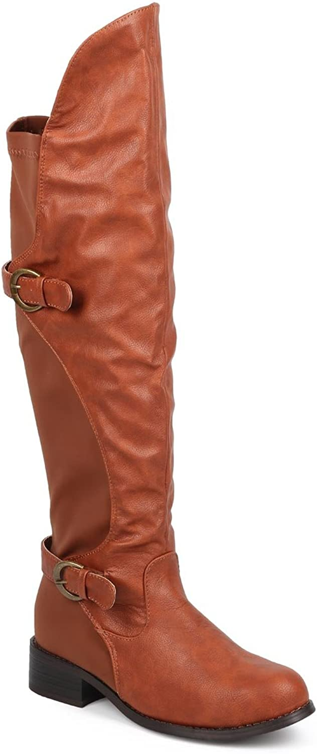 Women Leatherette Lycra Knee High Round Toe Motorcycle Boot DB57 - Cognac