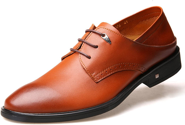 YXLONG Men's shoes Autumn And Winter Work Men's Dress Business shoes Men's Leather Wedding shoes Pointed Brown Lace British shoes Men