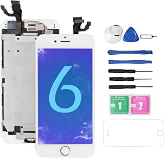for iPhone 6 Screen Replacement White with Home Button and Camera, Bsz4uov for A1549, A1586, A1589 Full Assembly 3D Touch LCD Display Touch Digitizer Replacement with Repair Tool, Screen Protector