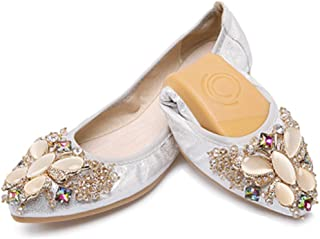 QZUnique Women's Ballet Flats Shoes Slip On Pointed Toe Butterfly Rhinestone 9.5 B(M) US Silver