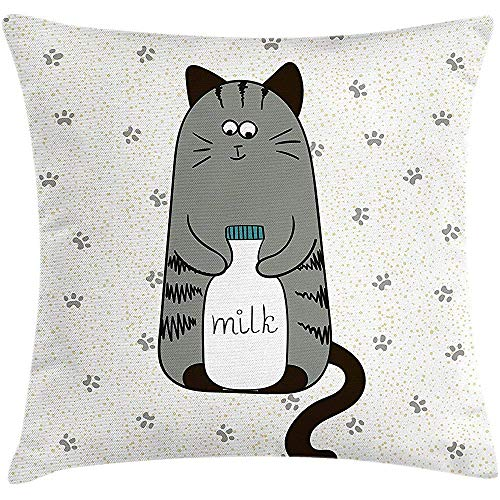 Roman Lin Cat Throw Kissen Kissenbezug,schüchtern sitzende Muschi eine Flasche Milch auf Pfoten Hintergrund kindische Illustration,dekorative quadratische Akzent Kissenbezug,45X45CM grau weiß schwarz