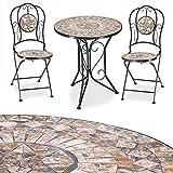 Deuba Conjunto de muebles de jardín Mosaico BARCELONA set de mesa y sillas plegables terraza patio metal diseño moderno