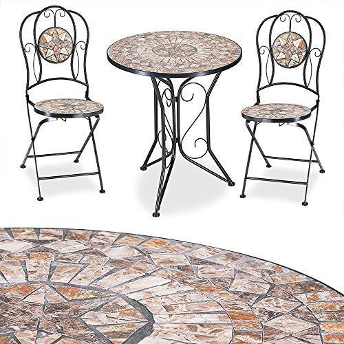 Deuba Mosaik Sitzgruppe Barcelona 3 TLG. Set I Mosaiktisch Rund Ø 60 cm mit 2 Stühlen I Gartenmöbel Balkonset Garten Tisch