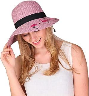 3fea98cd Womens Floppy Sun Beach Hat Flamingo Foldable Wide Brim Visor Straw Sun Hat  UPF 50+