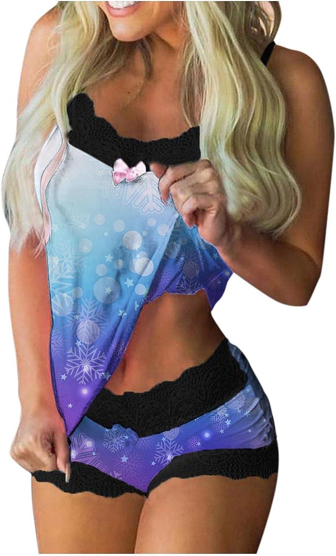 AODONG Lingerie for Women,Womens Sexy Print Pajamas Sleeveless Lace Cami Shorts Lingerie Sleepwear Set Underwear