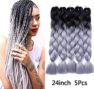 Besteffie Kanekalon Hair Extensions 24inch 5pcs/lot Synthetic Fiber for Twist Jumbo Braiding Hair Ombre Black-Silver Grey