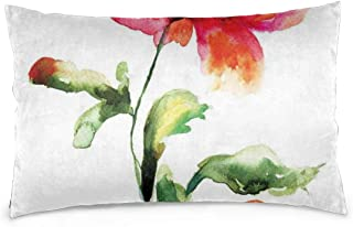 Akghil Pillowcases for Hair and Skin, Shaded Single Poppy Flowering Plant Muse in The Nature Earth Divine Grace,Hypoallergenic,Wash-Resistant 16