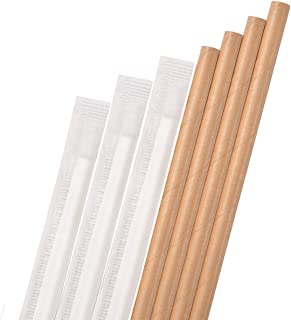 Dye-Free Paper Straws,Plasticless 200 Pack Individually Wrapped Biodegradable Straws,Food-Safe 7 3/4 inches Made from Brown Kraft
