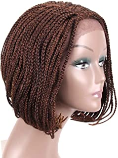 ZM Braided Wigs Bob Lace Front Wig for Black Women 12Inch Glueless Short Bob Braided Lace Wig with Baby Hair for Daily Wear Half Hand Tied