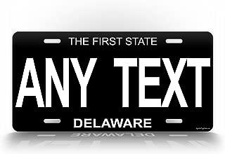 SignsAndTagsOnline Delaware Black License Plate Antique Porcelain Style Reproduction Customized Replica Vintage DE Pesonalized Auto Tag