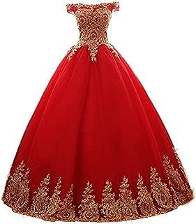 Women's Ball Gowns Gold Lace Appplique Quinceanera Dresses Off Shoulder Prom Dresses AL007