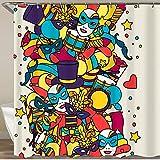 KGSPK Duschvorhang,Karnevals-Ausstellungsmuster mit Gekritzel-Symbolen & Objekten,Wasserfeste Bad Vorhang aus Polyestergewebe mit 12 Haken Duschvorhang 180x180cm
